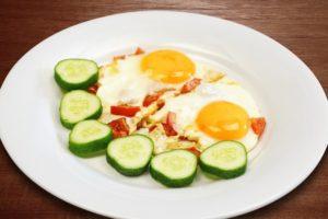 насколько калорийная яичница с овощами
