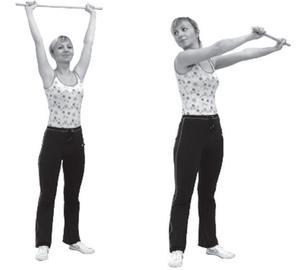 как выполнять упражнения с палкой стоя