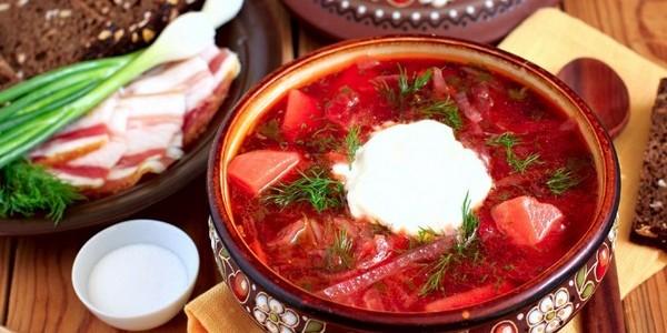 калорийность борща с мясом и без